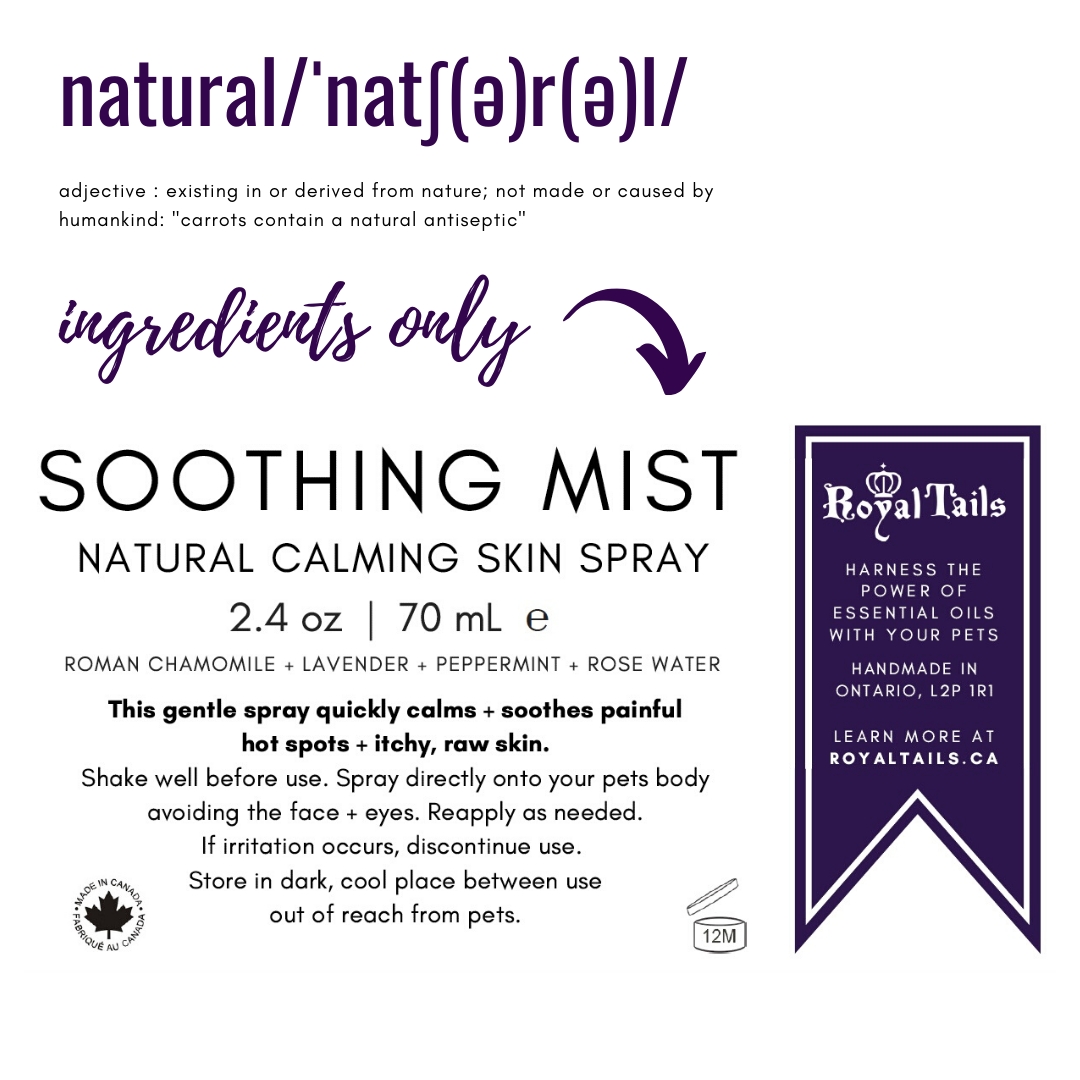 soothing mist product label