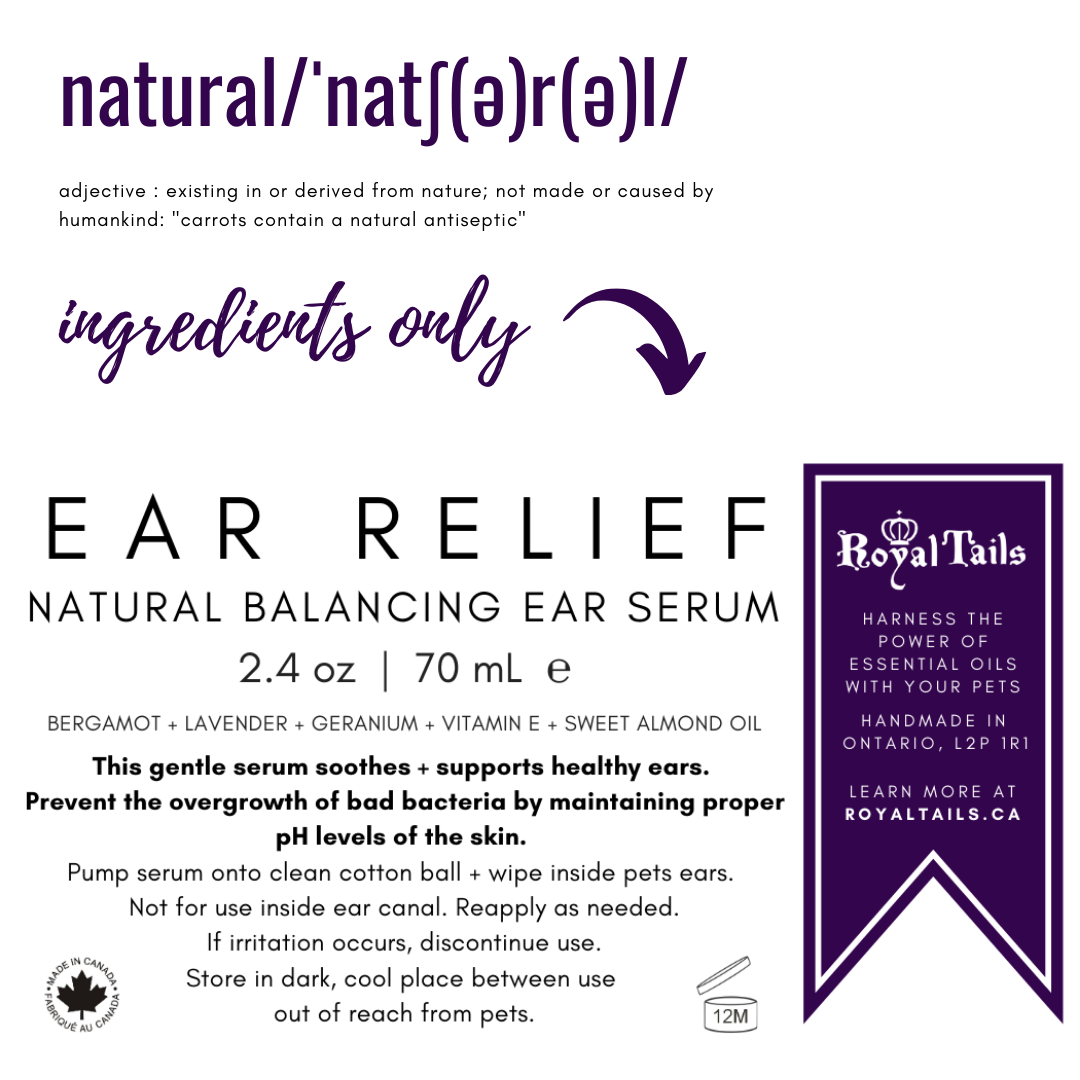 product label for ear relief serum