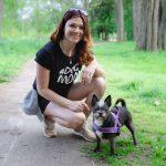 Portrait of Charlene Davidson and dog Serena