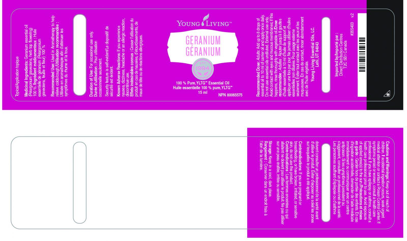 geranium essential oil bottle label